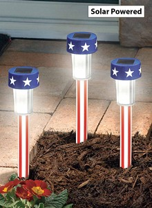 Set of 3 - Stars and Stripes Solar Lights BOGO