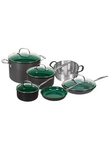 10 Pc Set OrGREENIC&#153 Ceramic Green Non-Stick Cookware
