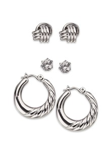 Silvertone Earring Set