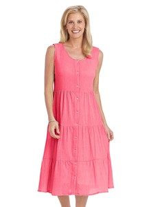 Crinkle Cotton Button-Front Dress