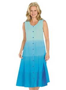 Dip Dye Crinkle Cotton Dress