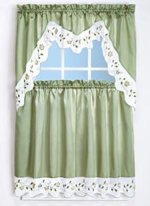 Embroidered Trim Curtain Set