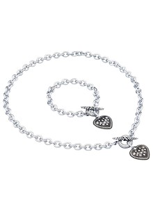 Heart Necklace & Bracelet Set