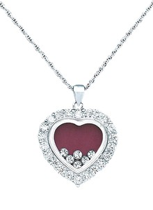 Heart Necklace with Floating Stones