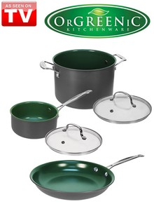 5 Pc Set OrGREENIC&#153 Ceramic Green Non-Stick Cookware