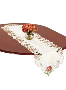 Floral-Embroidered Table Runner