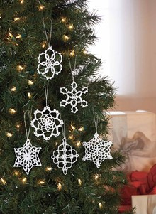 Hand-Crocheted Snowflake Ornament Set