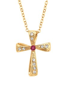 Genuine Ruby Cross Pendant