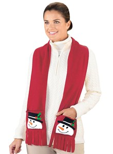 Appliqued Snowman Pocket Scarf