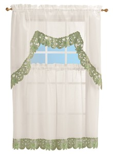 Embroidered Edge Curtain Set