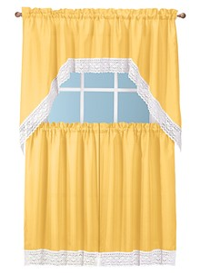 Crochet Trim Curtain Set