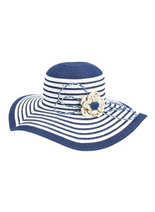Striped Wide-Brimmed Sun Hat