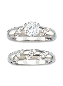 Genuine CZ Wedding Ring Set