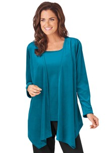 Velour 2-In-1 Scooped-Neck Top