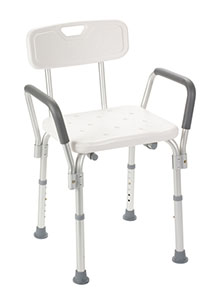 Shower Chair with Back and Removable Padded Arms by Drive Medical ...