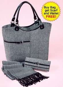 Three-Piece Herringbone Bag Set