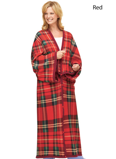 Plaid Polar Fleece Blanket And Robe