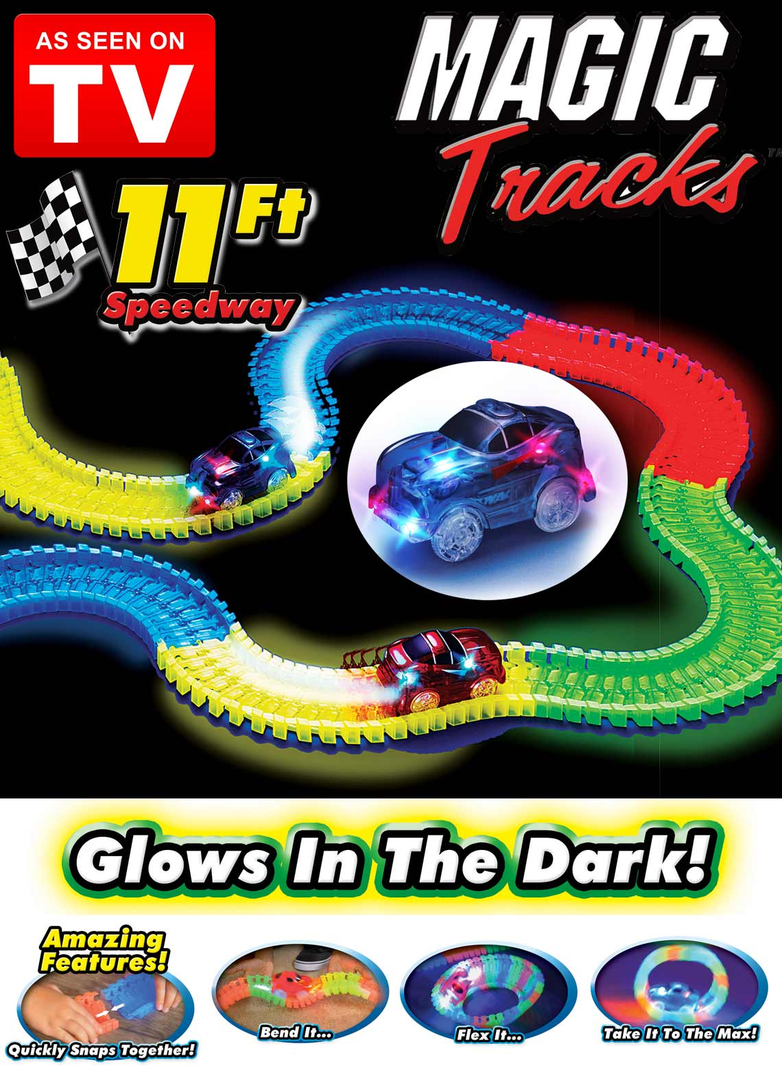 Magic tracks 220 pcs Glow in the dark DEL Light Up race car Bend Flex Racetrack