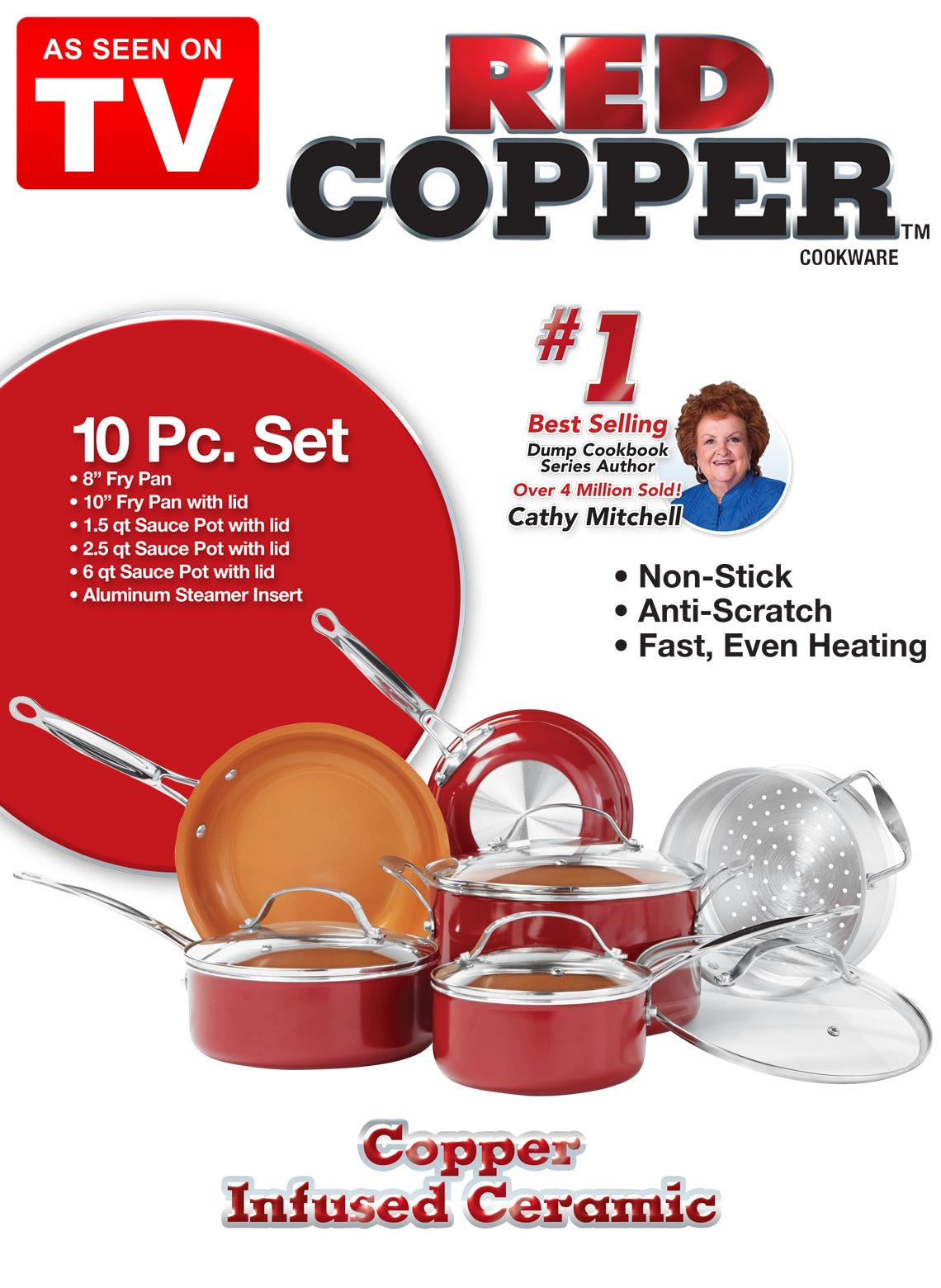Red Copper 10 Piece Cookware Set Drleonards Com