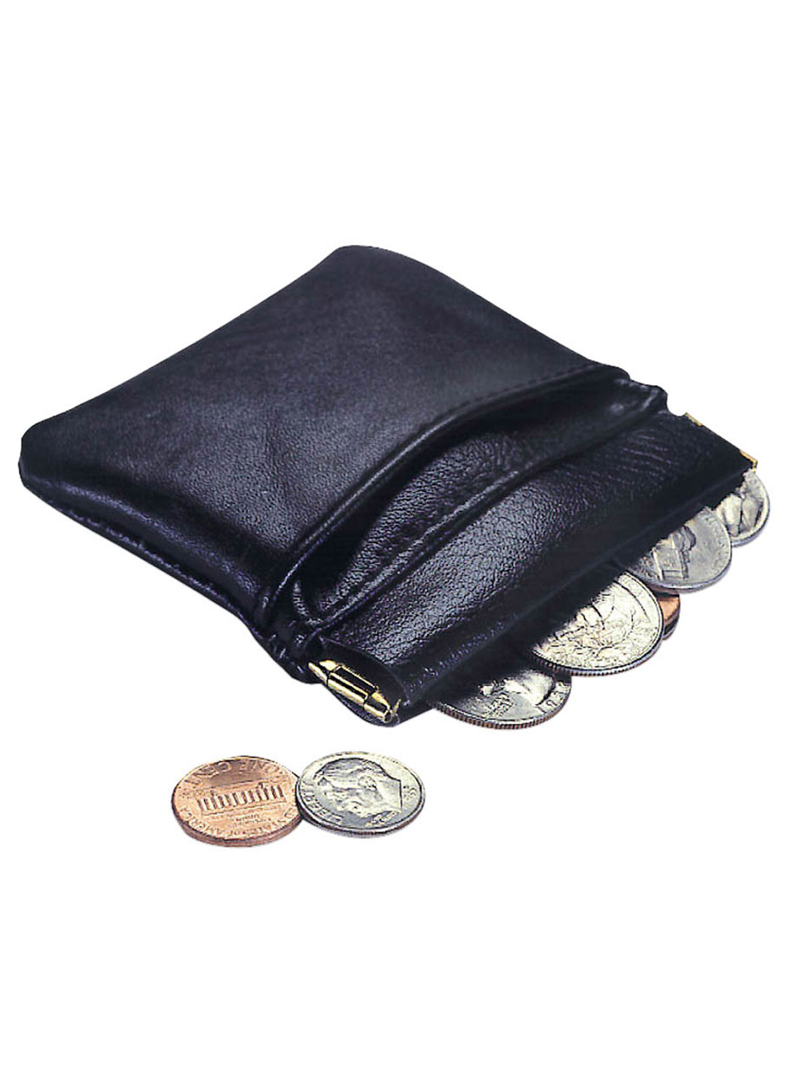 000a4a66 Coin Purse, Black Genuine Leather Small Squeeze-Top Coin Pouch
